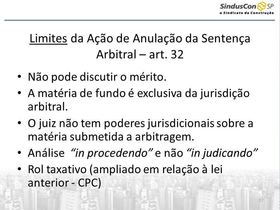 Limites da Ação de Anulação da Sentença Arbitral – art. 32