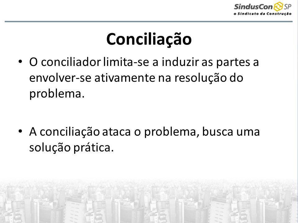 Conciliação O conciliador limita-se a induzir as partes a envolver-se ativamente na resolução do problema.
