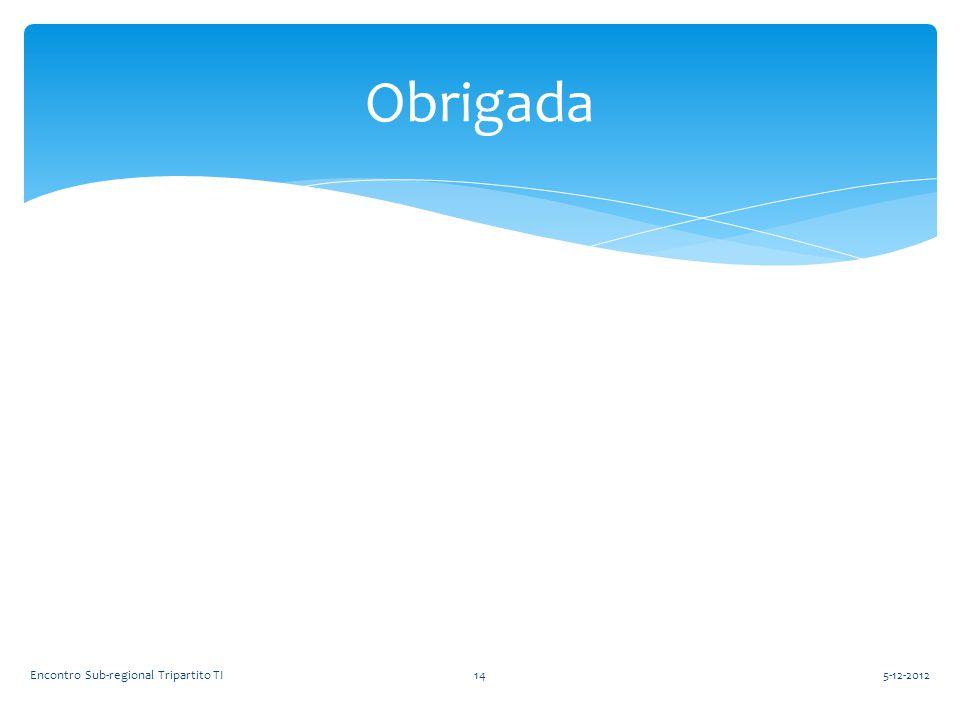Obrigada Encontro Sub-regional Tripartito TI 5-12-2012