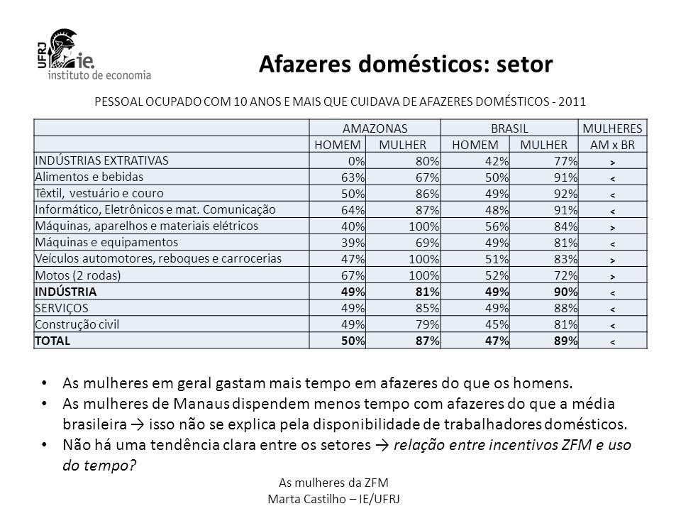 Afazeres domésticos: setor