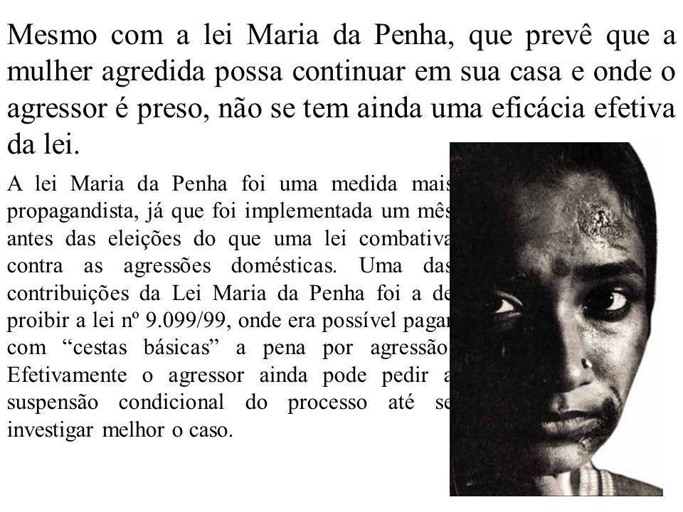 Mesmo com a lei Maria da Penha, que prevê que a mulher agredida possa continuar em sua casa e onde o agressor é preso, não se tem ainda uma eficácia efetiva da lei.