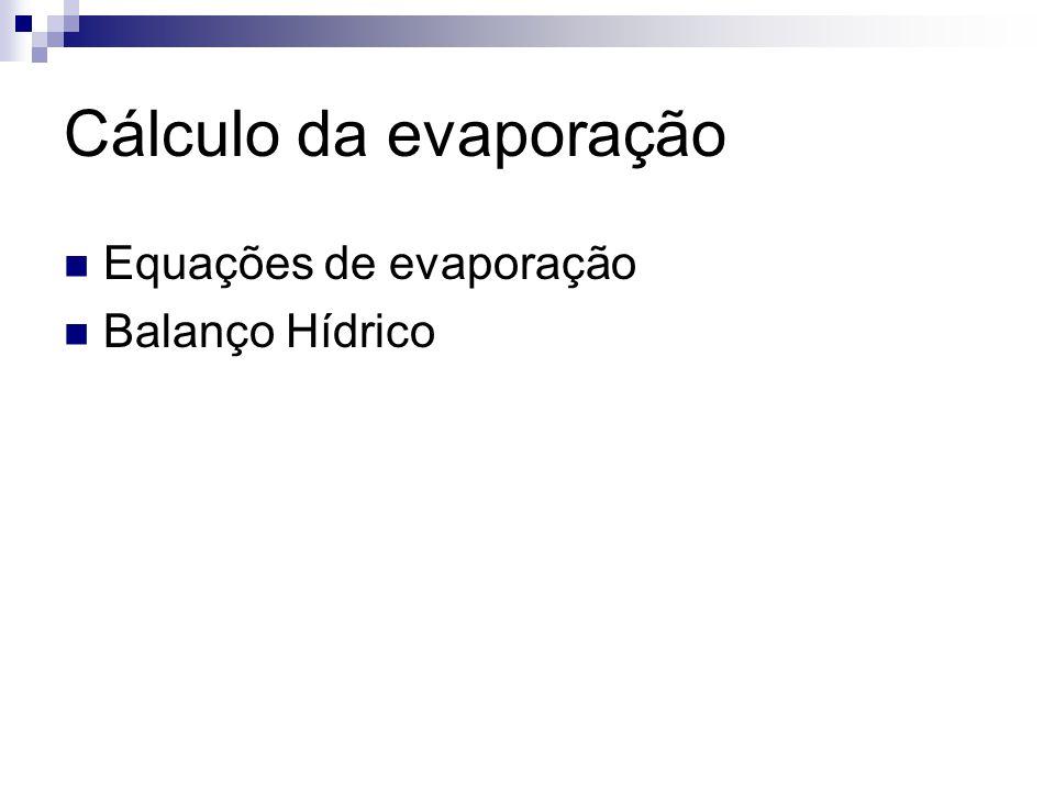 Cálculo da evaporação Equações de evaporação Balanço Hídrico