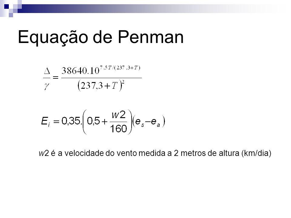 Equação de Penman w2 é a velocidade do vento medida a 2 metros de altura (km/dia)