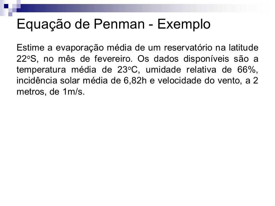Equação de Penman - Exemplo