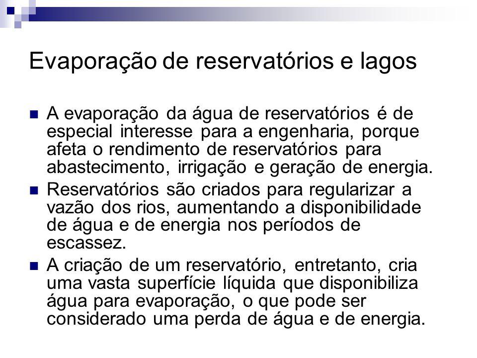 Evaporação de reservatórios e lagos