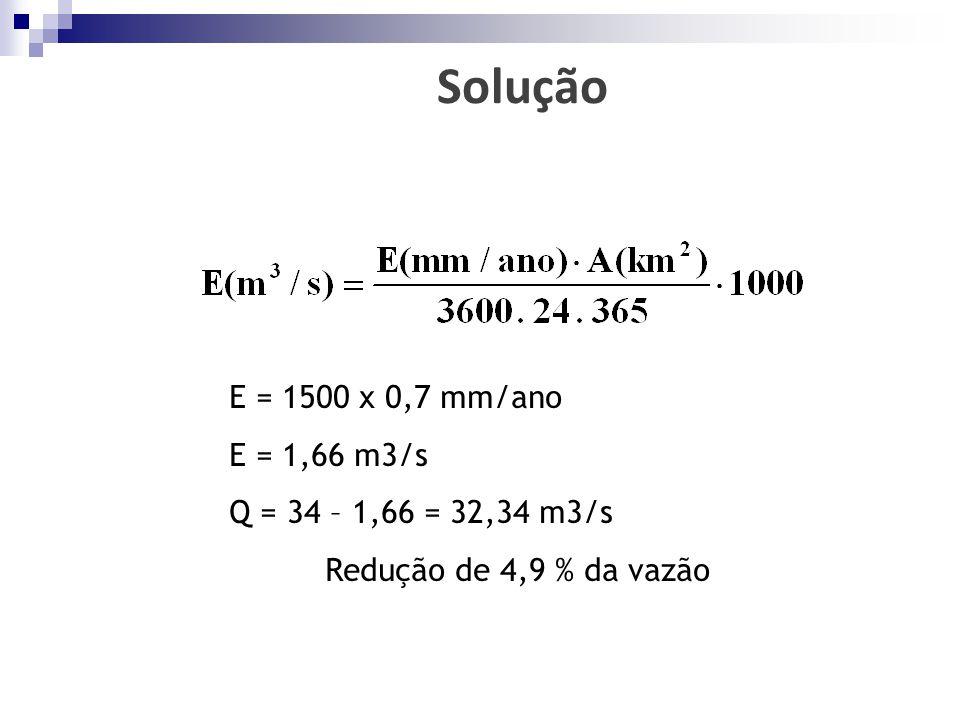 Solução E = 1500 x 0,7 mm/ano E = 1,66 m3/s Q = 34 – 1,66 = 32,34 m3/s