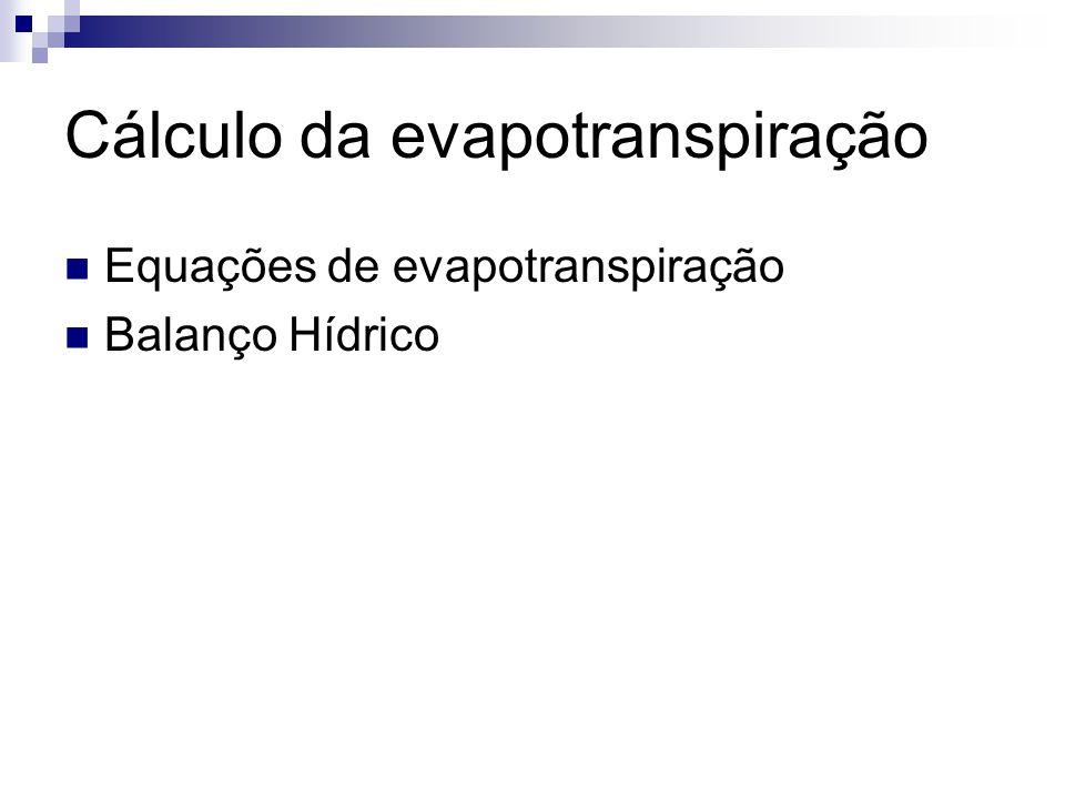 Cálculo da evapotranspiração