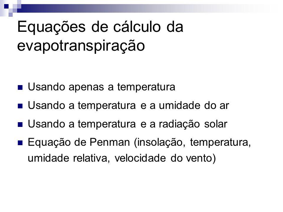 Equações de cálculo da evapotranspiração