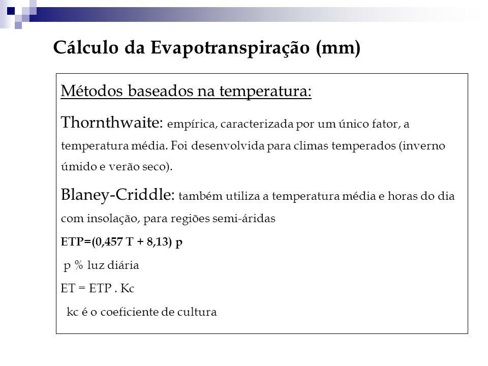 Cálculo da Evapotranspiração (mm)