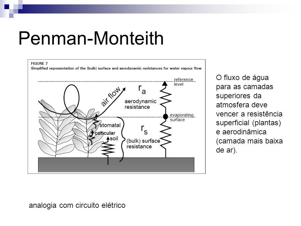 Penman-Monteith O fluxo de água para as camadas superiores da