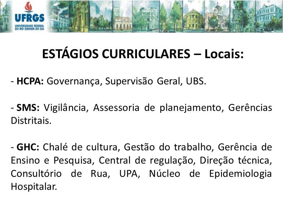 ESTÁGIOS CURRICULARES – Locais: