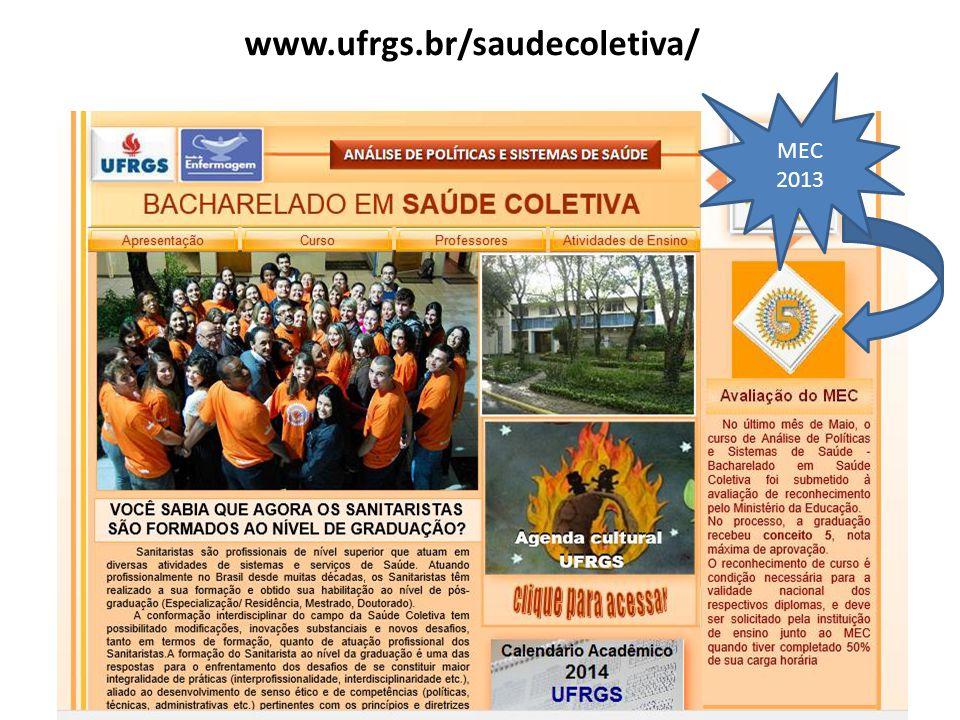 www.ufrgs.br/saudecoletiva/ MEC 2013
