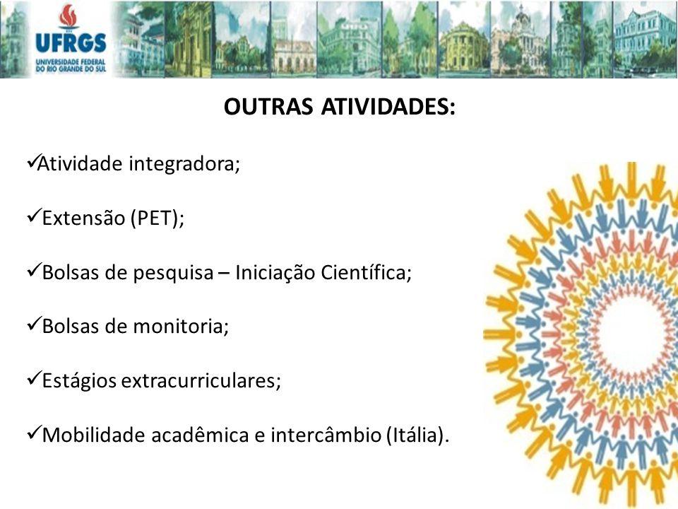 OUTRAS ATIVIDADES: Atividade integradora; Extensão (PET);