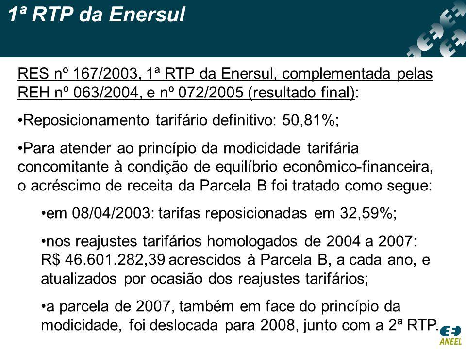 1ª RTP da Enersul RES nº 167/2003, 1ª RTP da Enersul, complementada pelas REH nº 063/2004, e nº 072/2005 (resultado final):