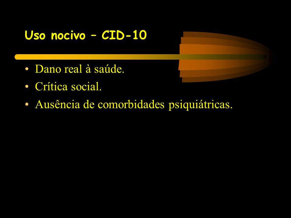 Uso nocivo – CID-10 Dano real à saúde. Crítica social. Ausência de comorbidades psiquiátricas.