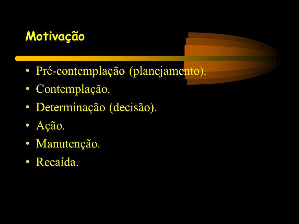 Motivação Pré-contemplação (planejamento). Contemplação. Determinação (decisão). Ação. Manutenção.
