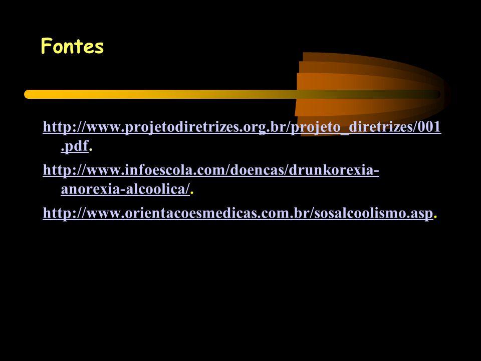 Fontes http://www.projetodiretrizes.org.br/projeto_diretrizes/001 .pdf. http://www.infoescola.com/doencas/drunkorexia- anorexia-alcoolica/.