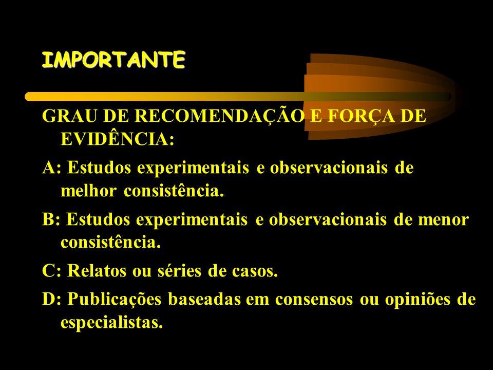 IMPORTANTE GRAU DE RECOMENDAÇÃO E FORÇA DE EVIDÊNCIA: