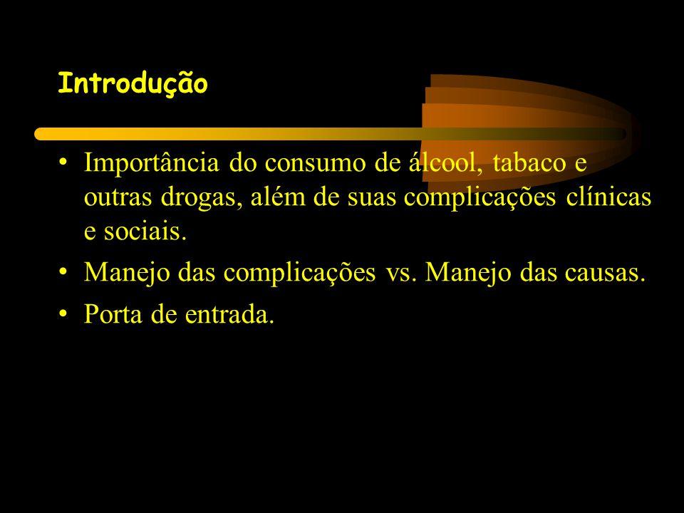 Introdução Importância do consumo de álcool, tabaco e outras drogas, além de suas complicações clínicas e sociais.