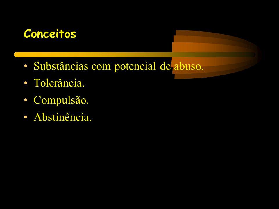 Conceitos Substâncias com potencial de abuso. Tolerância. Compulsão. Abstinência.