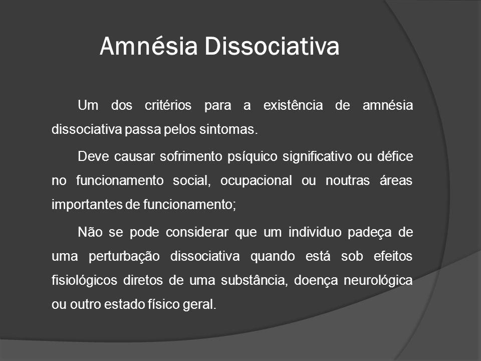 Amnésia Dissociativa Um dos critérios para a existência de amnésia dissociativa passa pelos sintomas.