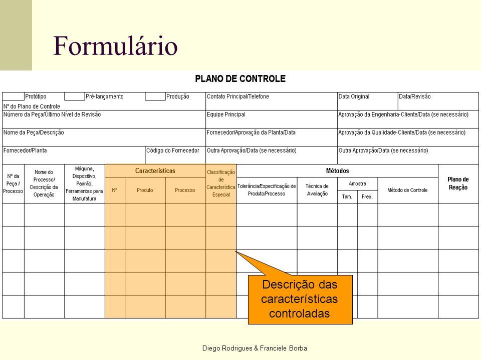 Formulário Descrição das características controladas