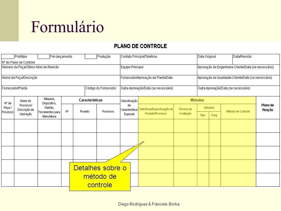 Formulário Detalhes sobre o método de controle