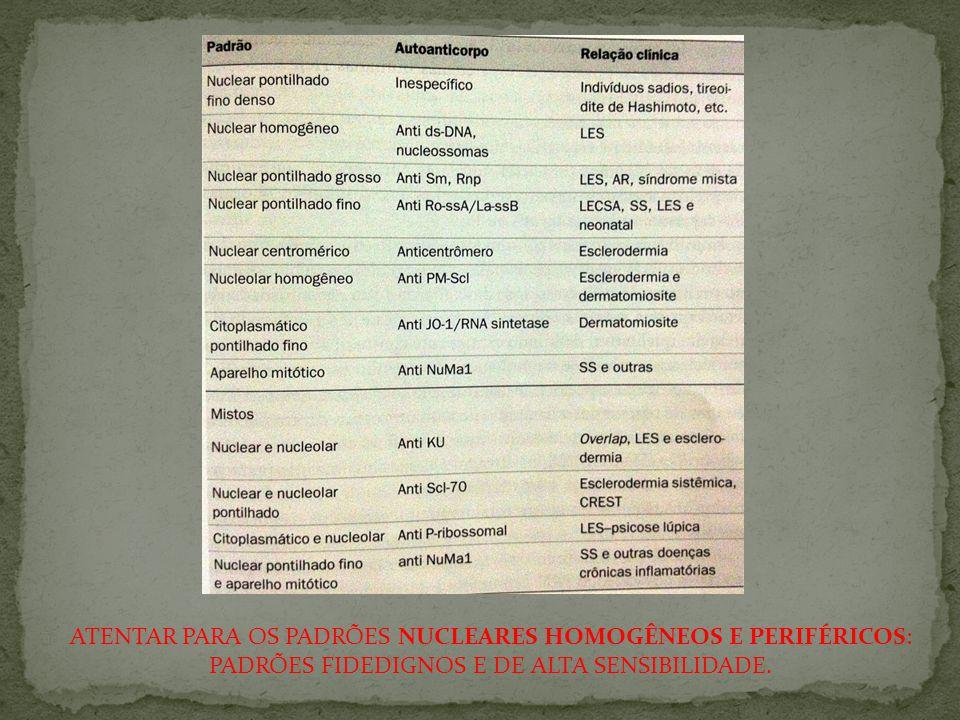 ATENTAR PARA OS PADRÕES NUCLEARES HOMOGÊNEOS E PERIFÉRICOS: