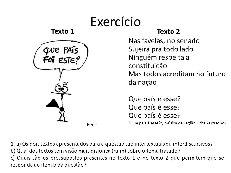 Exercício Texto 1. Texto 2.
