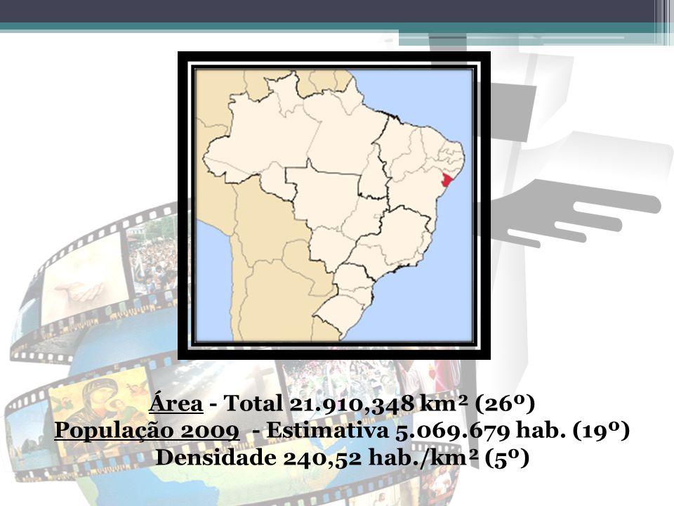 Área - Total 21.910,348 km² (26º) População 2009 - Estimativa 5.069.679 hab.