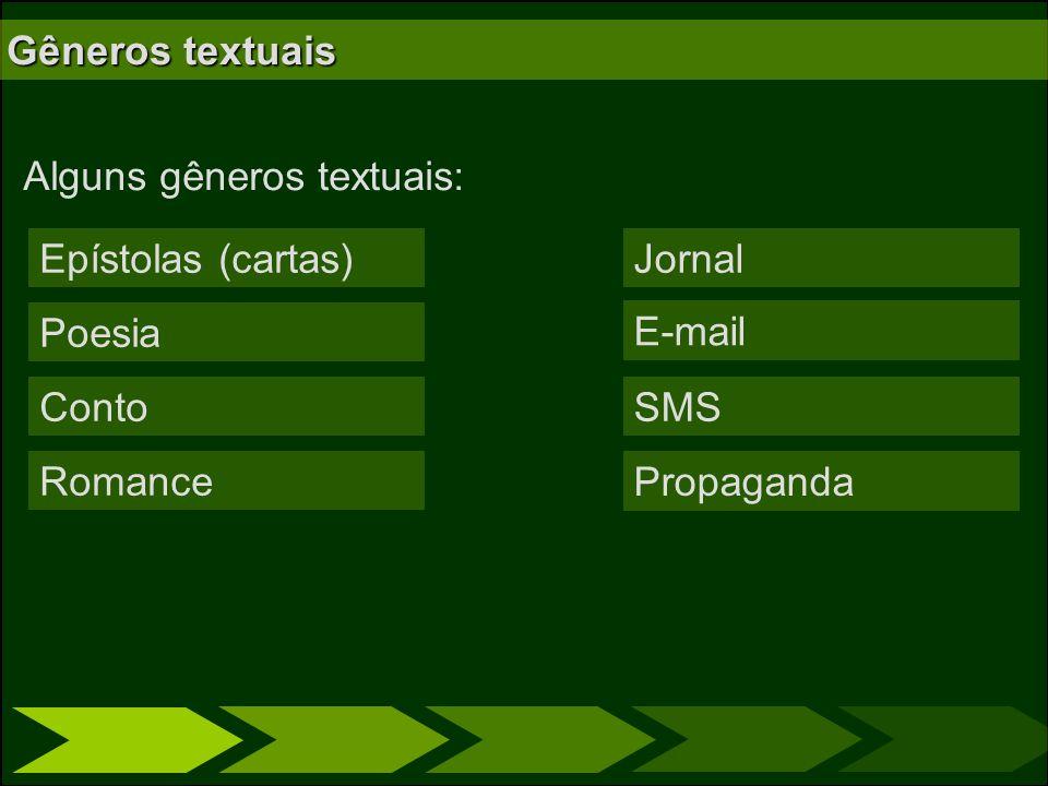 Gêneros textuais Alguns gêneros textuais: Epístolas (cartas) Jornal. Poesia. E-mail. Conto. SMS.
