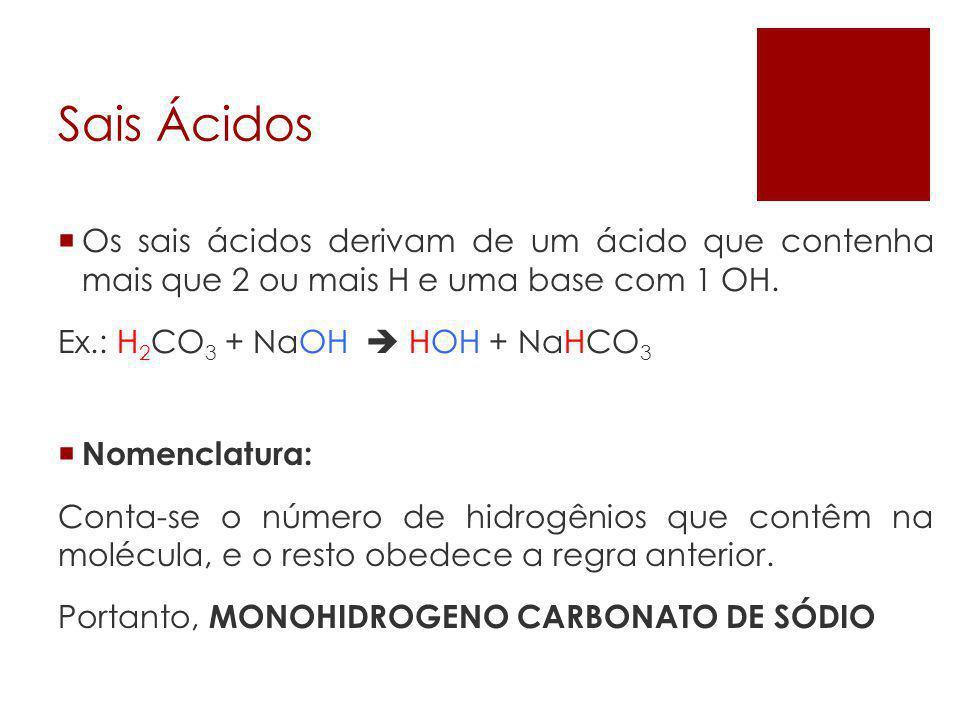 Sais Ácidos Os sais ácidos derivam de um ácido que contenha mais que 2 ou mais H e uma base com 1 OH.