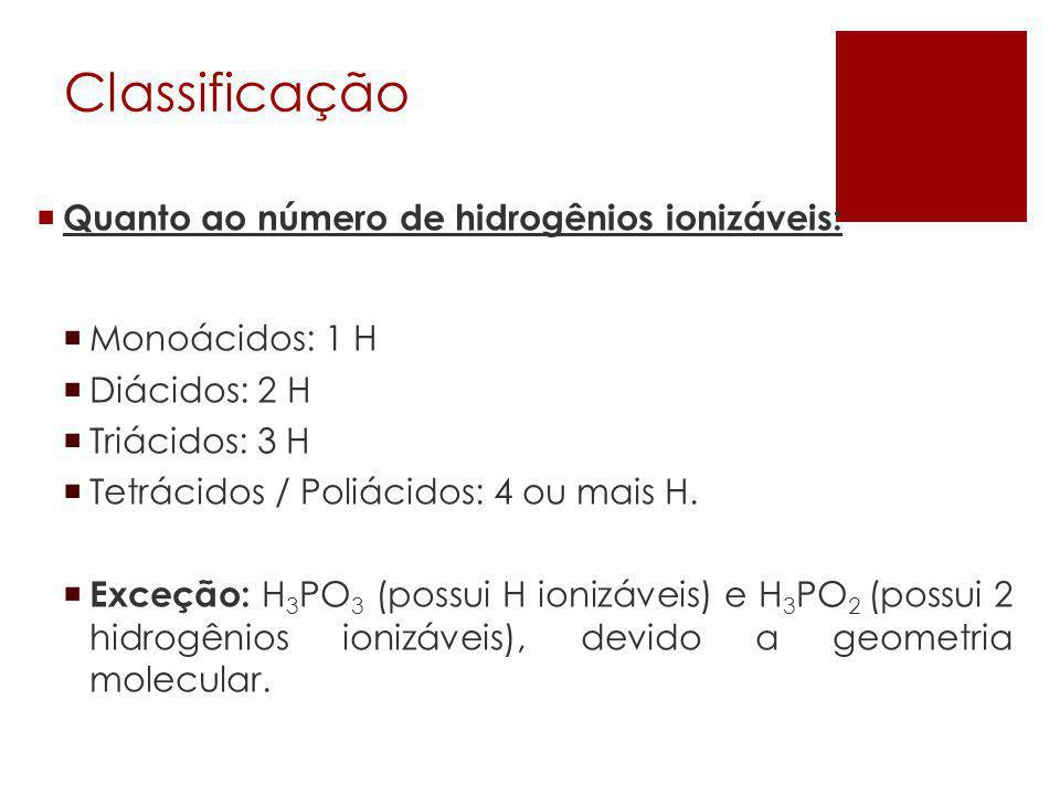 Classificação Quanto ao número de hidrogênios ionizáveis: