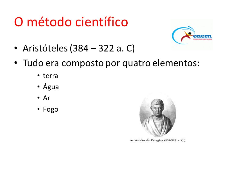O método científico Aristóteles (384 – 322 a. C)
