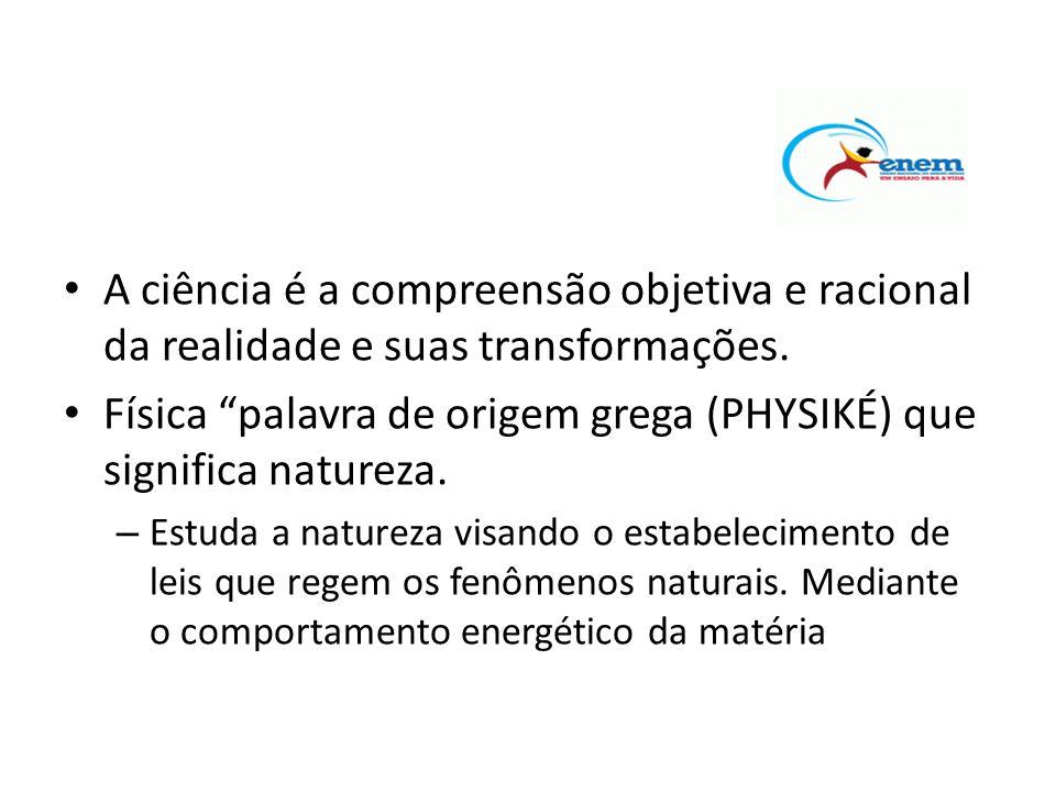 Física palavra de origem grega (PHYSIKÉ) que significa natureza.