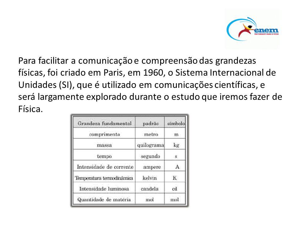 Para facilitar a comunicação e compreensão das grandezas físicas, foi criado em Paris, em 1960, o Sistema Internacional de Unidades (SI), que é utilizado em comunicações científicas, e será largamente explorado durante o estudo que iremos fazer de Física.
