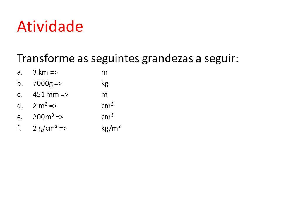 Atividade Transforme as seguintes grandezas a seguir: 3 km => m