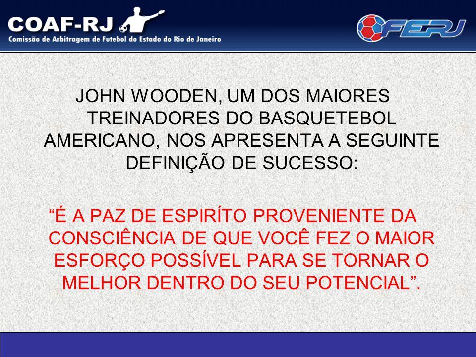 JOHN WOODEN, UM DOS MAIORES TREINADORES DO BASQUETEBOL AMERICANO, NOS APRESENTA A SEGUINTE DEFINIÇÃO DE SUCESSO: