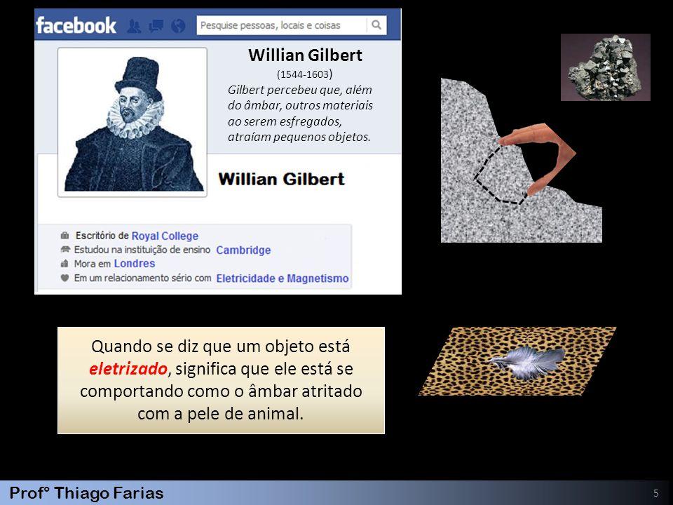 Willian Gilbert (1544-1603) Gilbert percebeu que, além. do âmbar, outros materiais. ao serem esfregados,