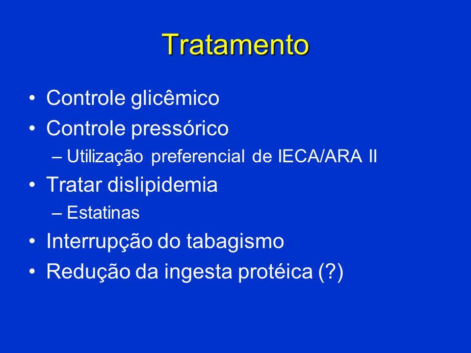 Tratamento Controle glicêmico Controle pressórico Tratar dislipidemia