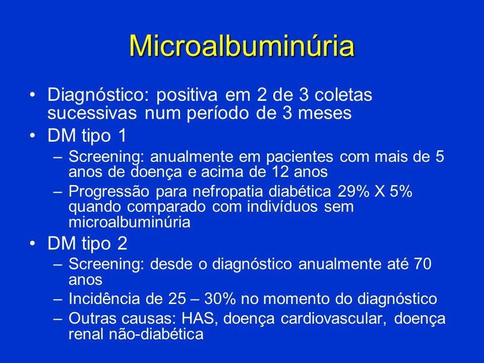 Microalbuminúria Diagnóstico: positiva em 2 de 3 coletas sucessivas num período de 3 meses. DM tipo 1.