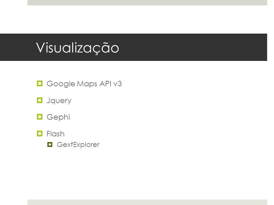 Visualização Google Maps API v3 Jquery Gephi Flash GexfExplorer