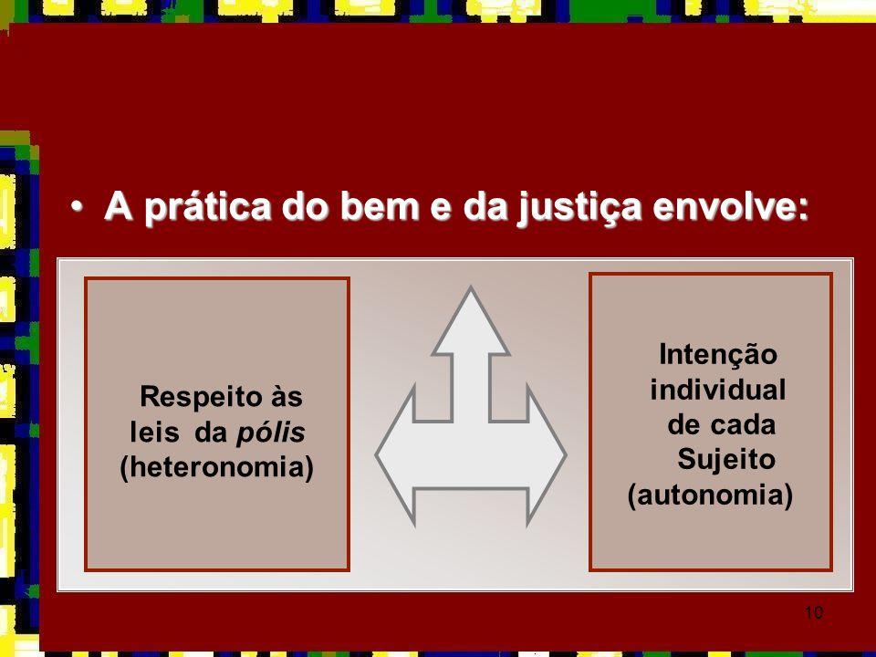 A prática do bem e da justiça envolve: