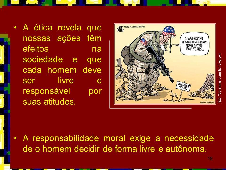 A ética revela que nossas ações têm efeitos na sociedade e que cada homem deve ser livre e responsável por suas atitudes.