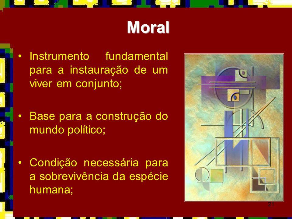 Moral Instrumento fundamental para a instauração de um viver em conjunto; Base para a construção do mundo político;