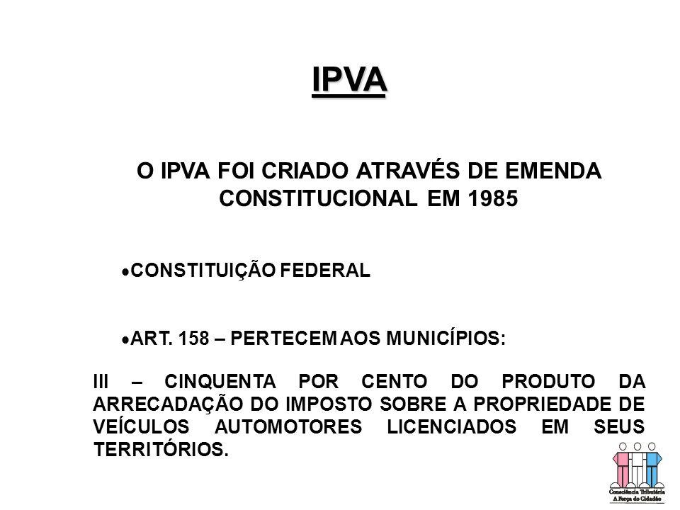 O IPVA FOI CRIADO ATRAVÉS DE EMENDA CONSTITUCIONAL EM 1985