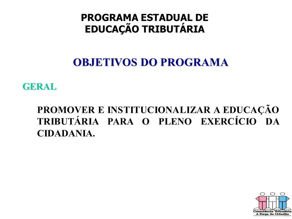 OBJETIVOS DO PROGRAMA PROGRAMA ESTADUAL DE EDUCAÇÃO TRIBUTÁRIA GERAL