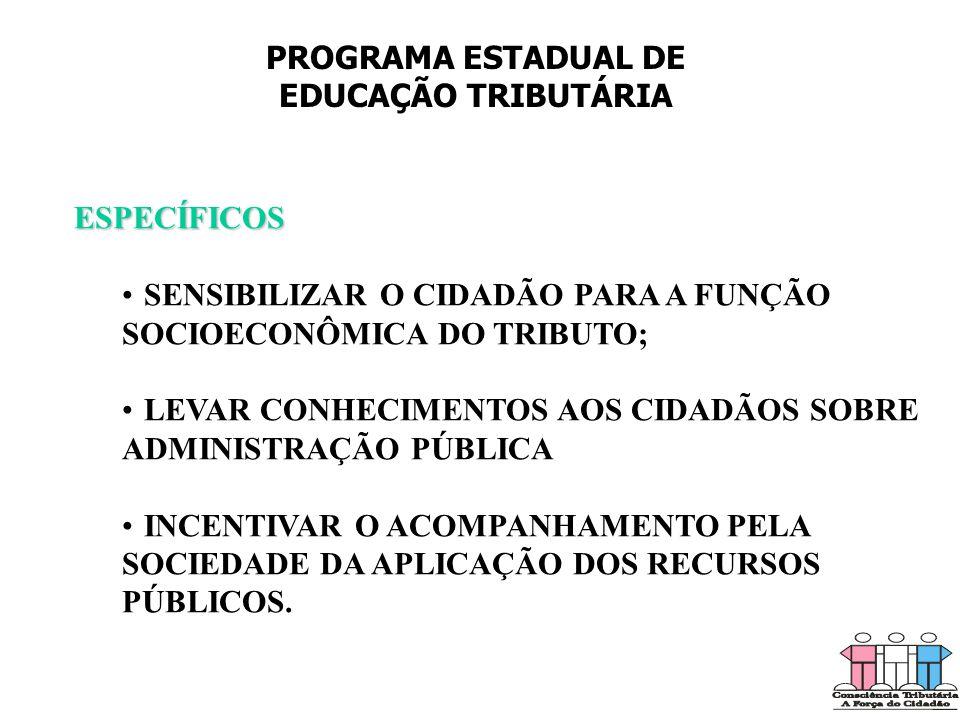 PROGRAMA ESTADUAL DE EDUCAÇÃO TRIBUTÁRIA. ESPECÍFICOS. SENSIBILIZAR O CIDADÃO PARA A FUNÇÃO SOCIOECONÔMICA DO TRIBUTO;