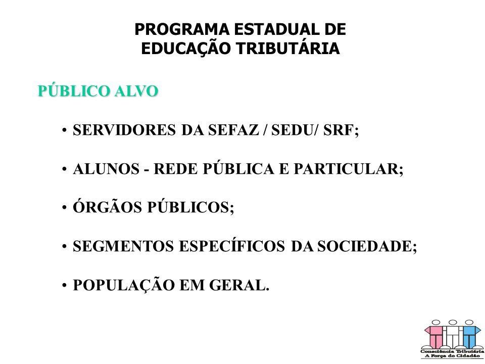 PROGRAMA ESTADUAL DE EDUCAÇÃO TRIBUTÁRIA. PÚBLICO ALVO. SERVIDORES DA SEFAZ / SEDU/ SRF; ALUNOS - REDE PÚBLICA E PARTICULAR;