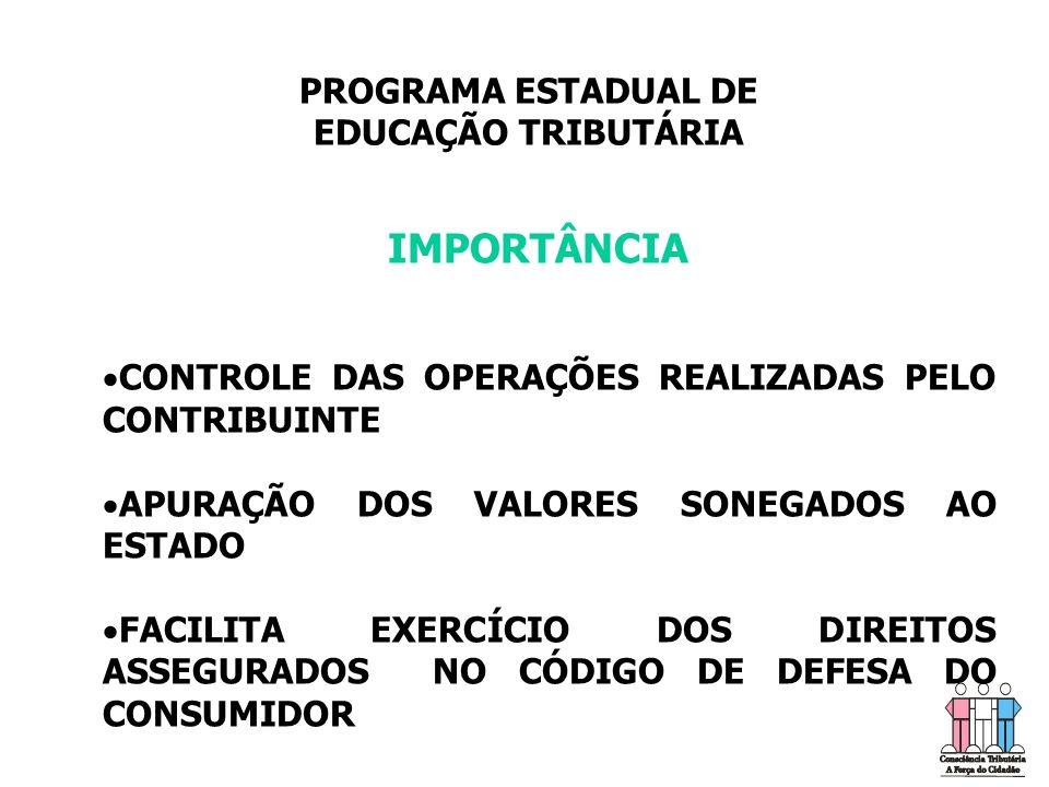 IMPORTÂNCIA PROGRAMA ESTADUAL DE EDUCAÇÃO TRIBUTÁRIA